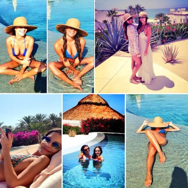 Su amiga lució un bikini azul igual que Lea.
