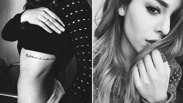 La estrella de 19 años mostró este fin de semana en su cuenta de Instagram el nuevo diseño que decidió plasmar en su cuerpo. Se trata de una frase que seguramente la inspira en su vida.