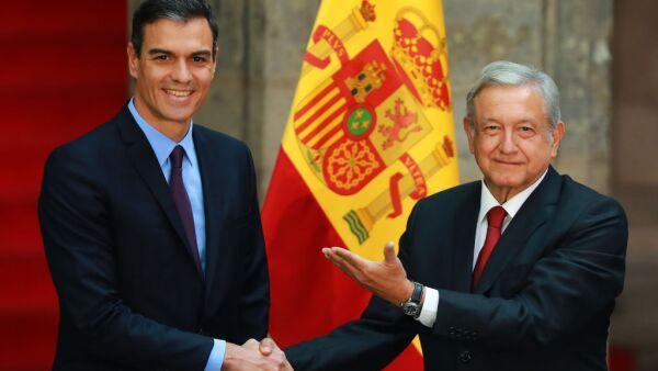 Andres Manuel Lopez Obrador Meets Pedro Sanchez Perez-Castejon Prime Minister of Spain