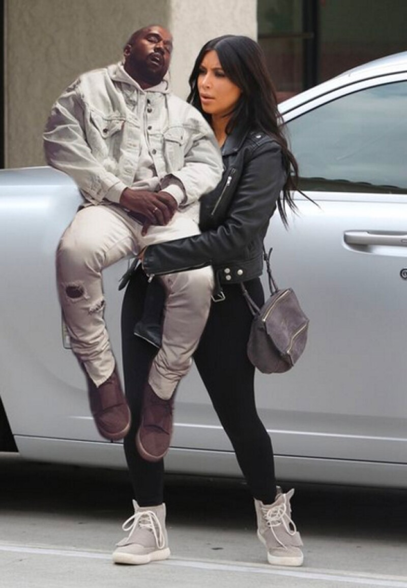 Tras un exhaustivo día de shopping al lado de su familia, Kim no pudo evitar tomarle una foto a su esposo y publicarla en sus redes sociales, ocasionando que todo el internet se burlara de él.