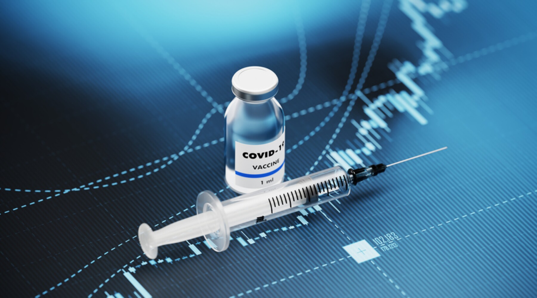 COVID-19 Vaccine and Syringe Sitting over Blue Financial Graph Background - COVID-19 Vaccine and Stock Market and Finance Concept