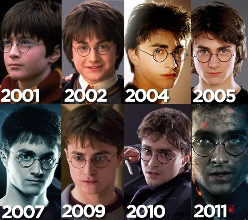 La evolución del personaje de Harry Potter, interpretado por Daniel Radcliffe.