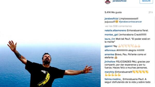 Luego de siete meses de luchar contra el cáncer de colon, el vocalista de Jarabe de Palo le gana la batalla a la enfermedad y promete reanudar la gira con el grupo español.