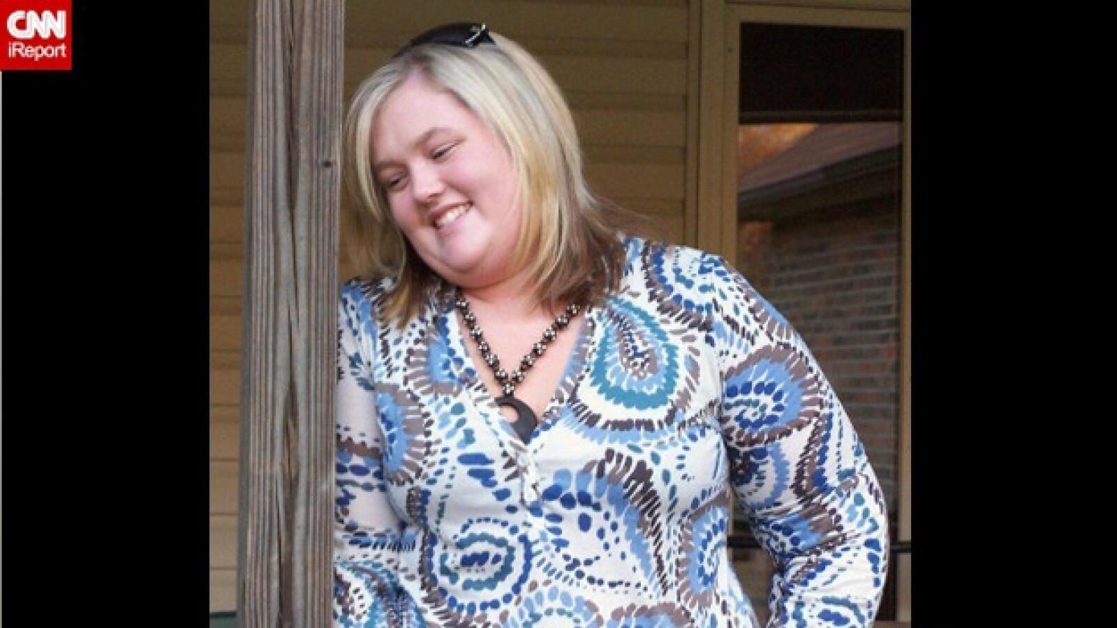 mujer que bajo 77 kilos