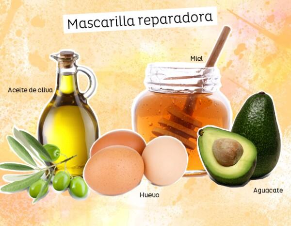 Usa huevo, aguacate, aceite de oliva y miel para reparar los daños en tu pelo.