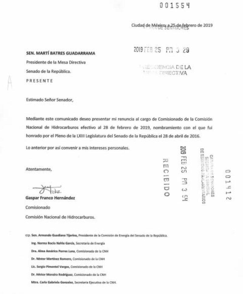 Carta gaspar franco
