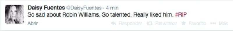 `Tan triste por Robin Williams, era tan talentoso. En realidad me gustaba´, escribió Daisy Fuentes.