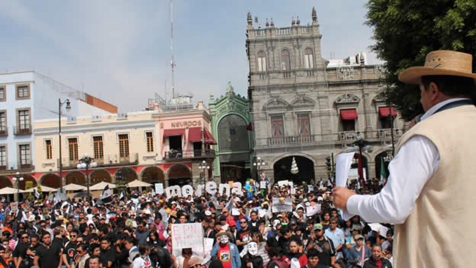 manifestaciones antipeña en puebla