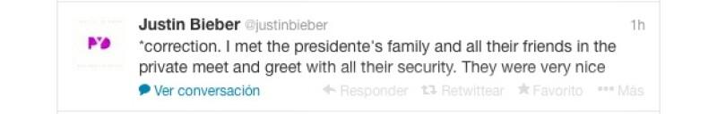 Éste fue el mensaje que publicó Bieber tras eliminar el primero en el que decía que había conocido al presidente.