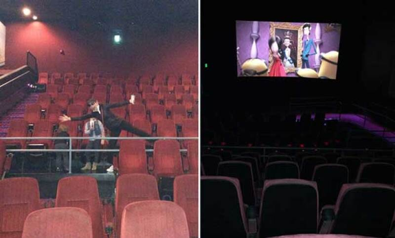 Por la mañana Thalía se dio una escapada con sus hijos al cine para ver una película.