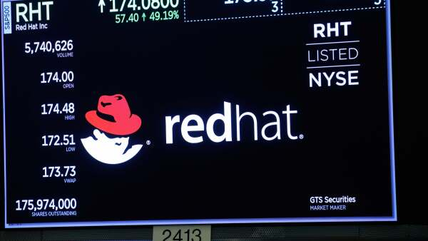 A Red Hat logo is pictured on the floor of the New York Stock Exchange (NYSE) in New York