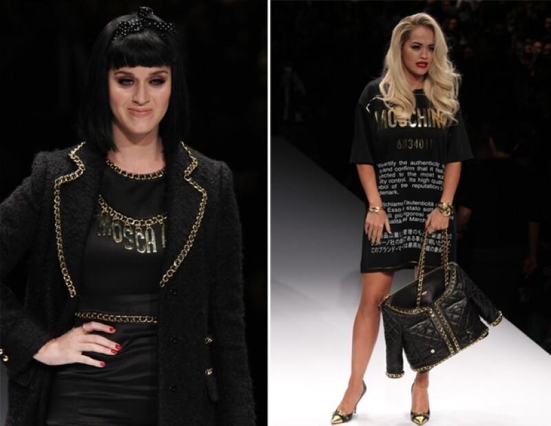 Ayer las cantantes asistieron al debut de Jeremy Scott para Moschino en Milan Fashion Week, donde las dos se convirtieron en modelos por unos minutos, aunque horas antes, se divertían en Londres.
