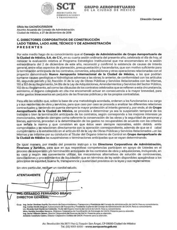 oficio de cancelación del NAIM