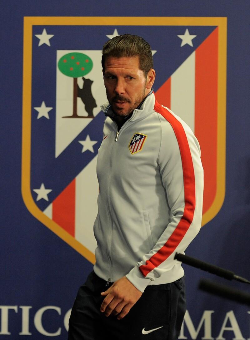 Diego Simeone al término de una conferencia de prensa.