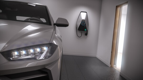 charging electric car generic suv in garage 3d illustration