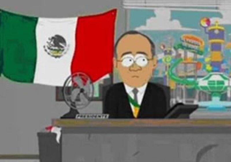 Felipe Calderón malgasta su parte de un botín robado a un extraterrestre en la serie SouthPark. (Foto: Cortesía MTV)