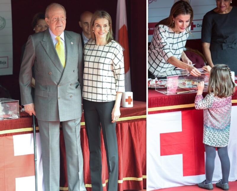 La reina de España se encontró un grupo de niñas que vestían y estaban peinadas igual que sus hijas, causando también la sorpresa de Juan Carlos de España durante la colecta de la Cruz Roja en Madrid.