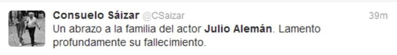 Consuelo Sáizar lamentó la muerte del primer actor.