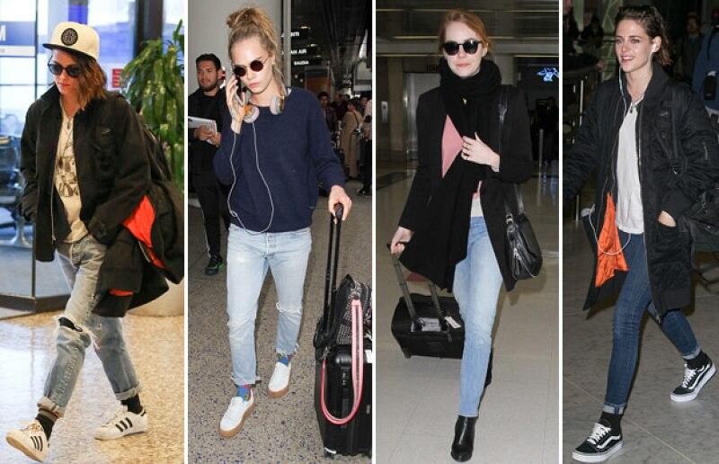 Los jeans rotos es la tendencia que comenzó desde el año pasado, o también los siempre fieles jeans entubados. Celebs que usan estos modelos son Kristen Stewart, Cara Delevingne y Emma Stone.
