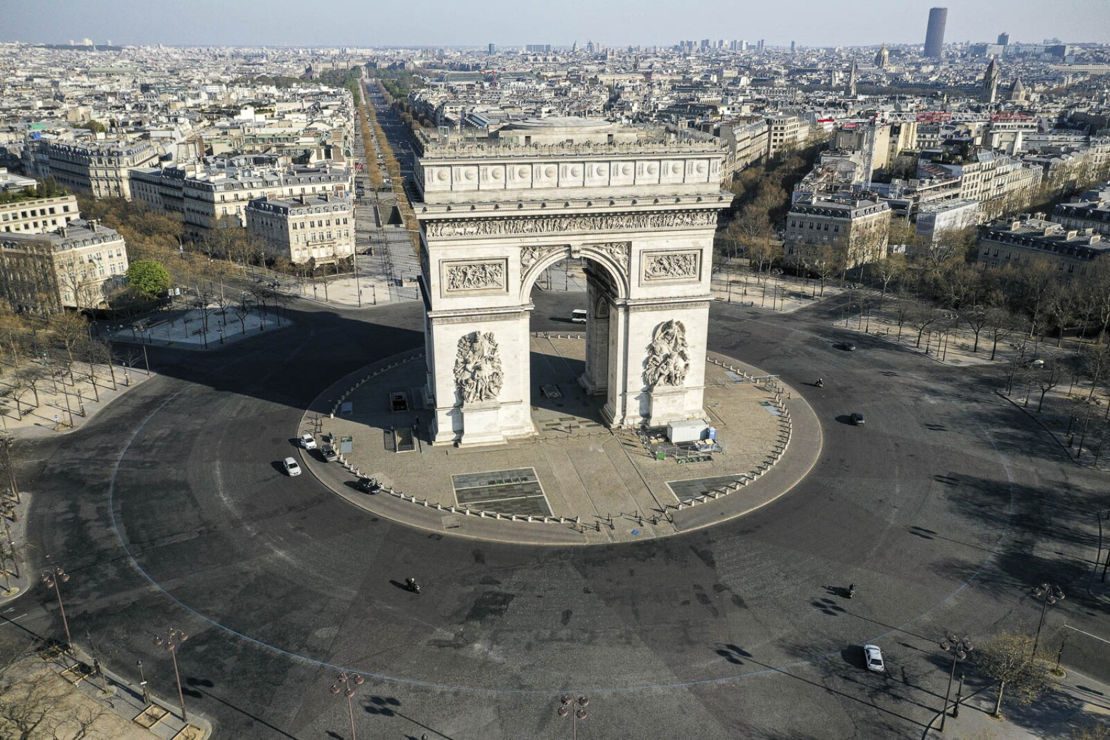Aerial view of deserted Paris during coronavirus disease outbreak