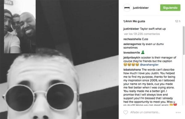 Justin aparece haciendo FaceTime con Kanye, y en el captión decidió mencionar a Taylor Swift para avivar la polémica.