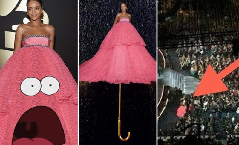 El vestido rosa de Rihanna fue uno de los más comentados de la noche.