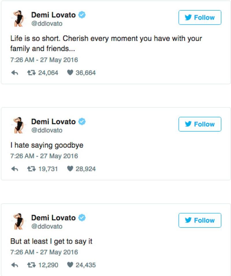 Durante varios días, Demi pidió a sus fans que oraran por su bisabuela, y después de todo lo sucedido les agradeció por sus buenas intenciones.