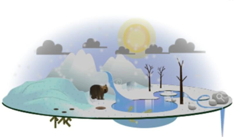 La prLos usuarios pueden cambiar el clima del doodle con sólo un click. (Foto tomada de google.com)