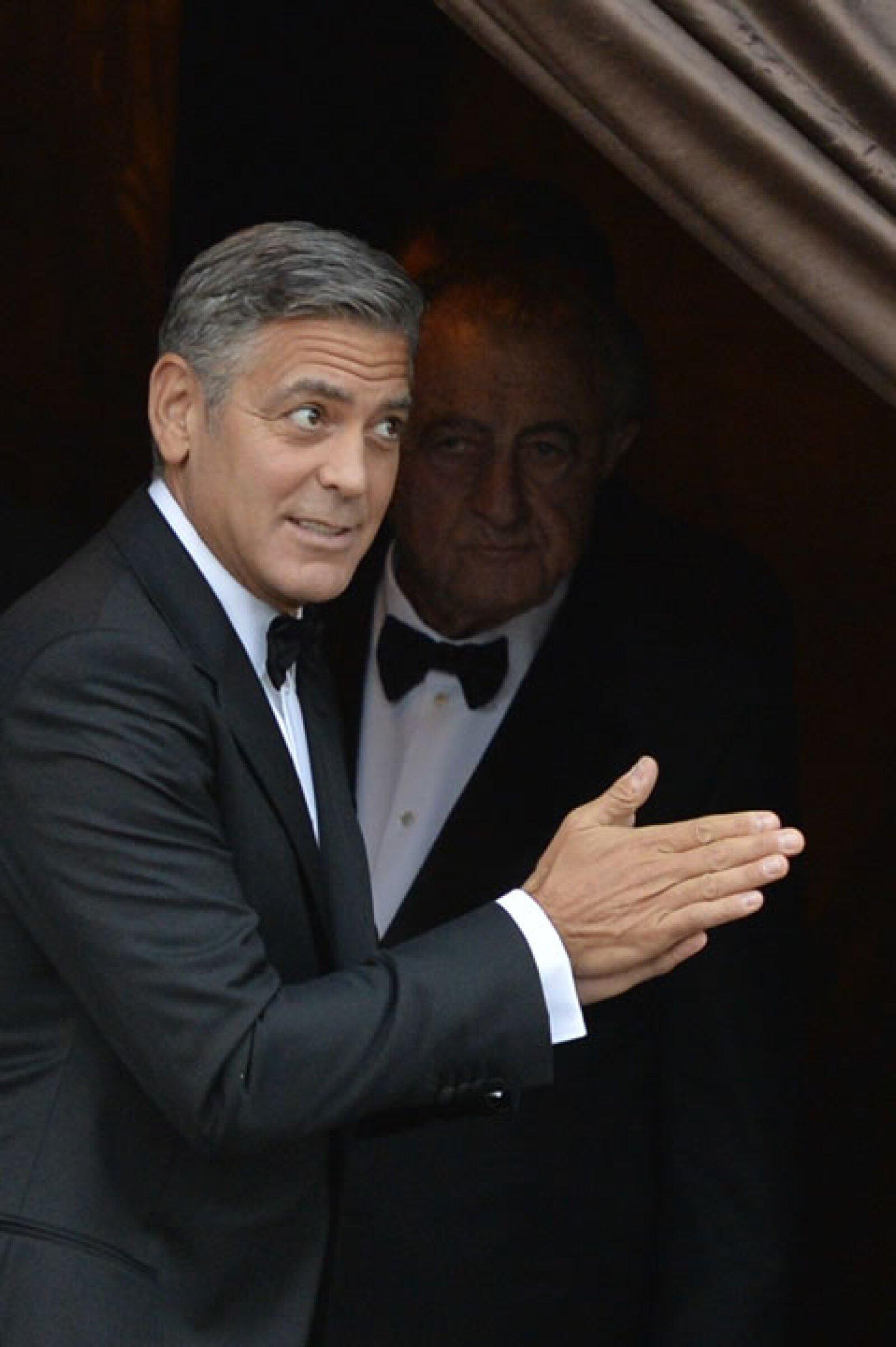 George estaba muy emocionado por que su papá, Nick Clooney lo acompañara este importante fin de semana.
