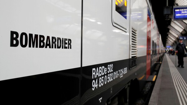 "FILE PHOTO: The Bombardier FV-Dosto double-deck train ""Ville de Geneve"" of Swiss railway operator SBB is seen at the central station in Zurich"