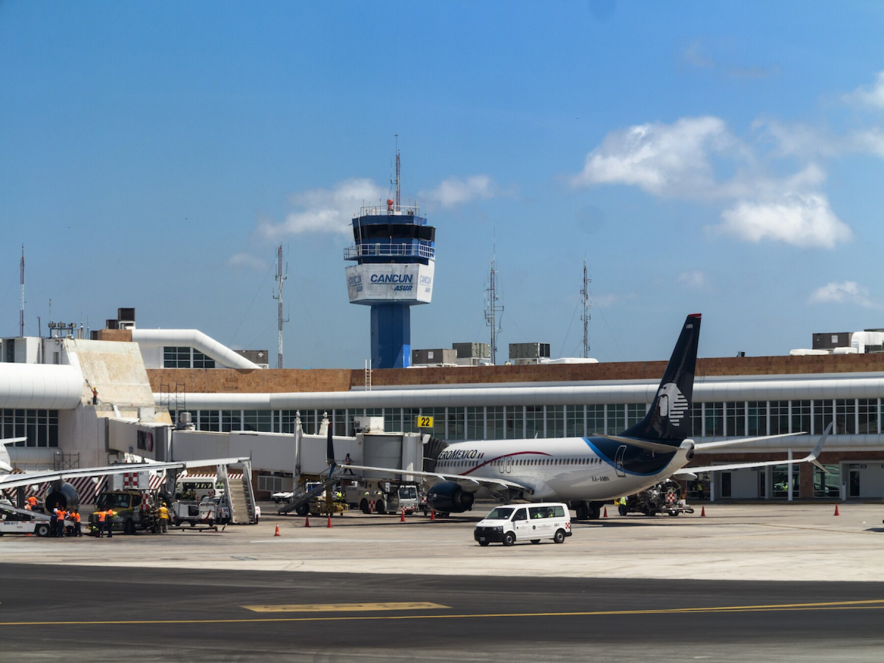 Cancun, Mexico, airport tower and gates