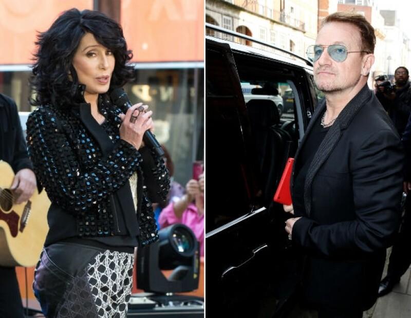 Cher y Bono, líder del grupo U2.