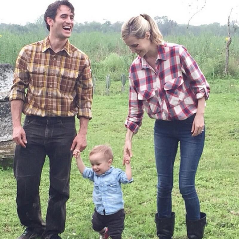 Pamela Reiter y Rodrigo Miranda acompañados de su hijo Jerónimo