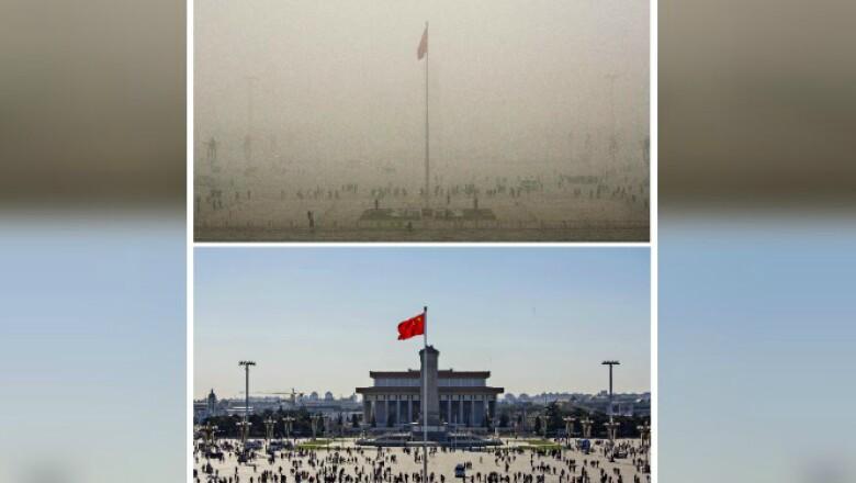 Los cielos se aclararon el pasado 3 de diciembre, pero las autoridades ambientales chinas pronostican que la polución empeore este martes.