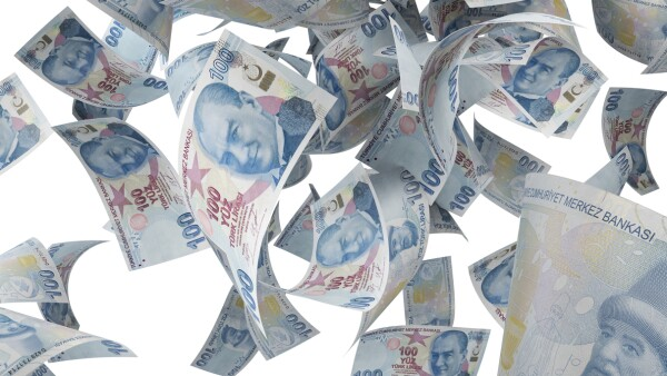 One Hundred Turkish Lira Banknotes Falling On White Background