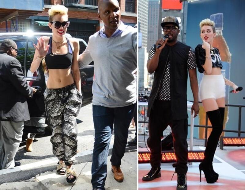 Miley salió a las calles de Nueva York usando unas sandalias de 910 dólares, mientras que en el show cantó con unas botas Christian Louboutin de más de mil dólares.