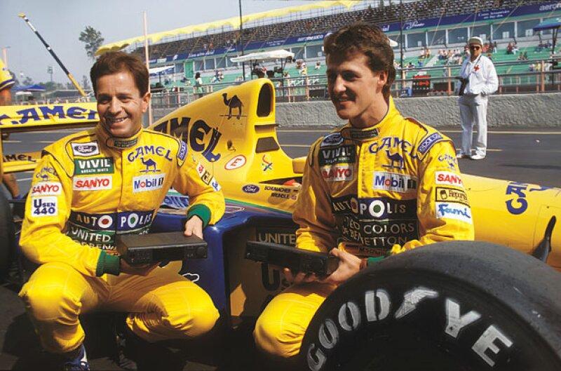 El inglés Martin Brundle y el alemán Michel Schumacher en México.