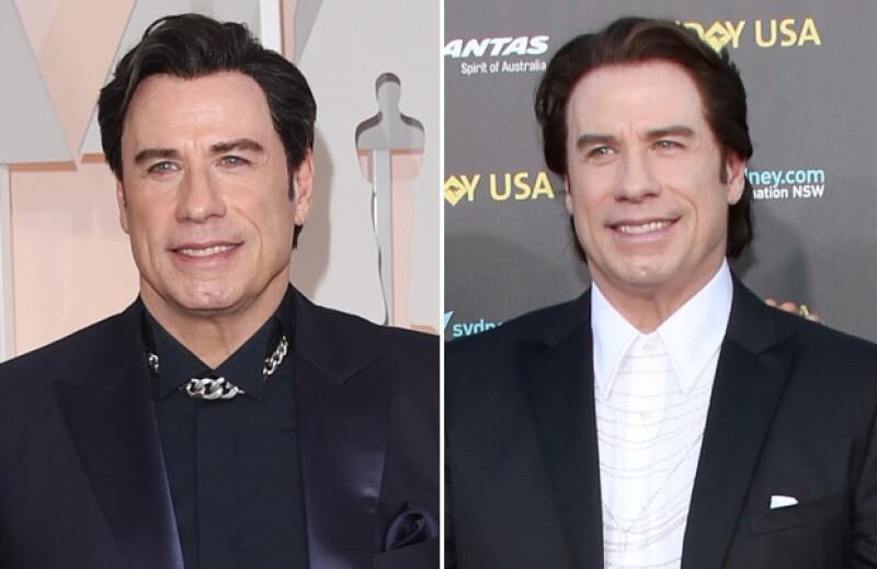 Apenas el 31 de enero (foto derecha) John acudió a una gala donde su aspecto se notaba más natural que el de este 22 de febrero (foto izquierda).