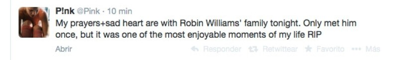 `Mis oraciones y corazón entristecido están con la familia de Robin Williams esta noche. Sólo lo vi una vez pero fue uno de los momentos que más he disfrutado de mi vida. RIP´, escribió Pink.