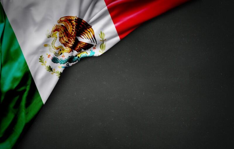 flag of Mexico on blackboard
