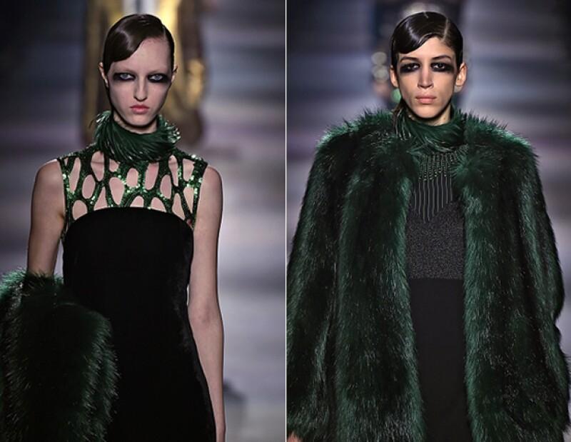 Los tonos verdes brillantes de las pieles en estos modelos del diseñador belga, nos hicieron soñar.