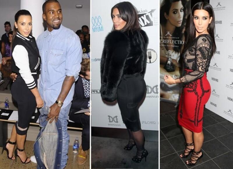 Kim gusta de vestir prendas ceñidas a su figura que destacan sus prominentes curvas.