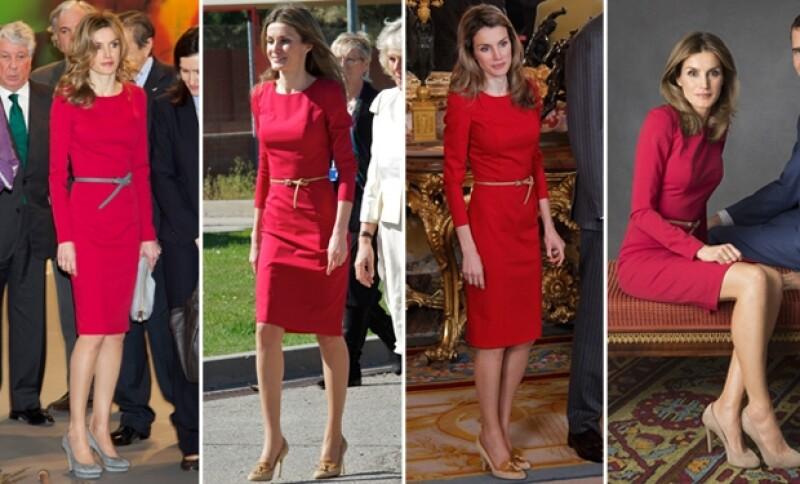 De izquierda a derecha. La princesa estrenó el vestido con accesorios grises en la inauguración de la feria ARCO 2011 (febrero). Posteriormente tan sólo un mes después en abril para recibir al príncipe Carlos y Camila en Madrid. Luego durante el almuerzo por el Premio Cervantes de ese año y en septiembre de 2012 para las fotografías que hicieron de ella con su familia por su cumpleaños número 40.