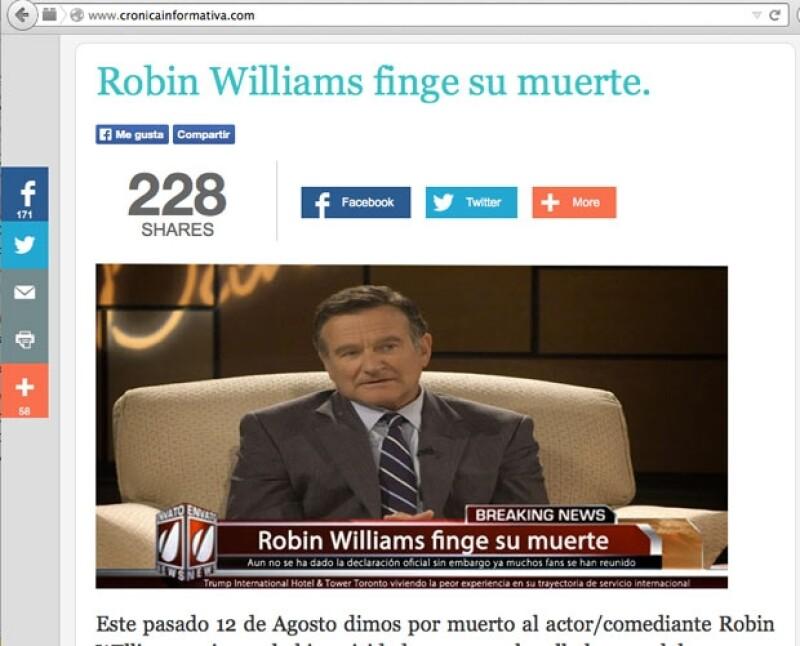 Nota sobre Robin Williams, publicada en la Crónica Informativa.