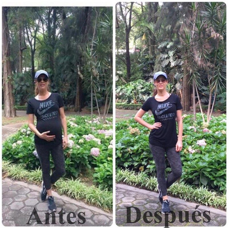 La modelo publicó una foto en la que sale con el mismo outfit y en el mismo lugar, la diferencia es que una fue tomada cuando tenía ocho meses de embarazo y la otra es actual.