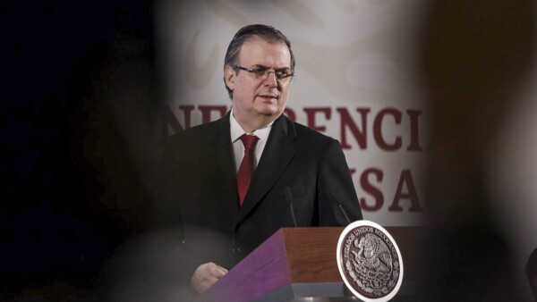 Marcelo Ebrard, secretario de Relaciones Exteriores, durante la conferencia matutina en el Palacio Nacional
