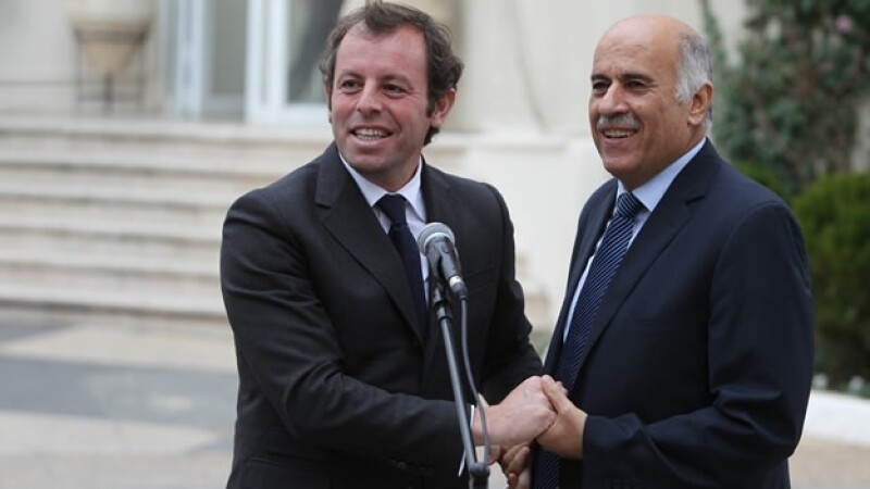 Jibril Rajoub presidente Asociación Palestina Futbol Sandro Rosell presidente club Barcelona