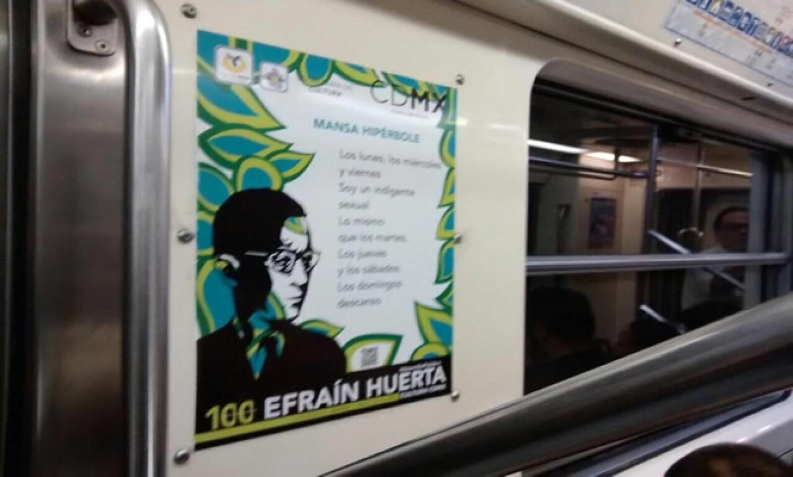 El jefe de Gobierno del DF compartió uno de los poemas de Efraín Huerta que están desde hace meses en los vagones de ese transporte.