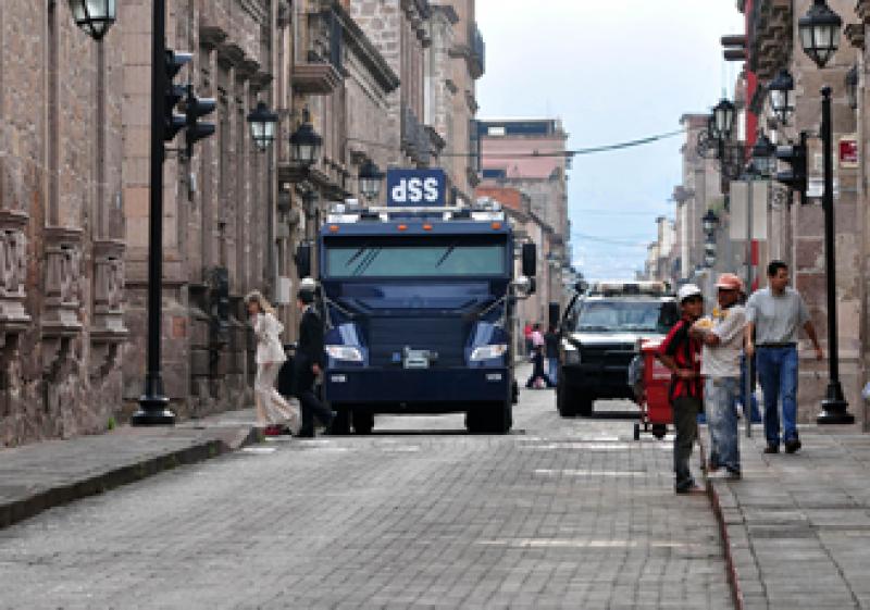 La SSP desplegó un operativo  de seguridad en el centro de Morelia. (Foto: Notimex)