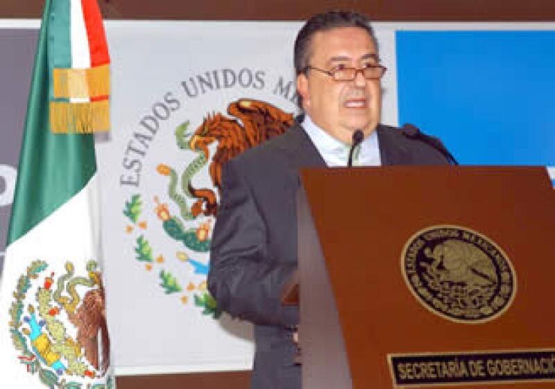 Gómez Mont emitió un mensaje a los medios tras los recientes ataques ocurridos en Michoacán. (Foto: Notimex)